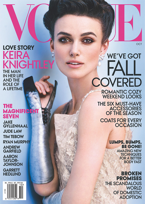 Keira Knightley wears lace Chanel for American Vogue's October issue