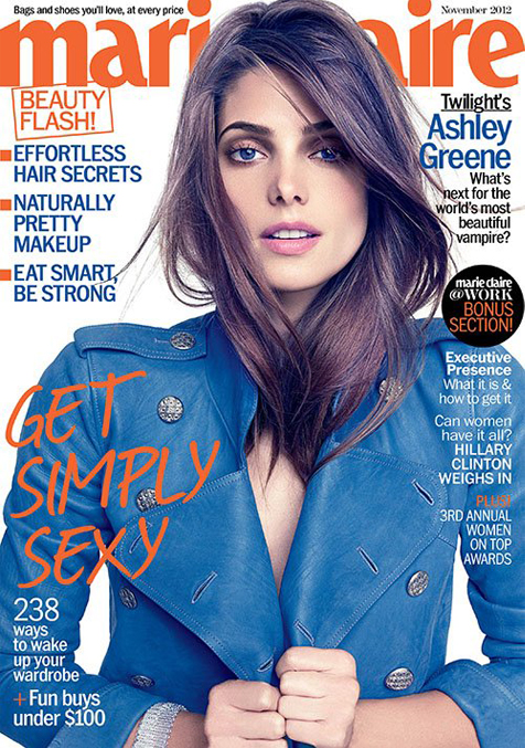 Ashley Greene covers Marie Claire US November in Dolce and Gabbana