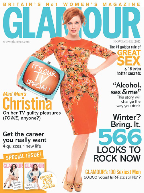 Christina Hendricks, Sofia Vergara and Jessica Brown Findlay for Glamour UK November