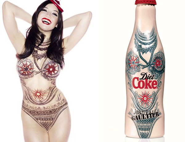 Daisy Lowe poses for Jean Paul Gaultier's Diet Coke Tattoo bottle