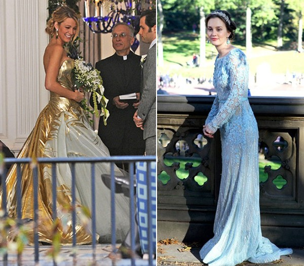 Blake Lively and Leighton Meester rock Georges Chakra and Elie Saab for Gossip Girl