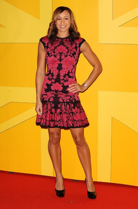 Jessica Ennis is pretty and patriotic in Alexander McQueen