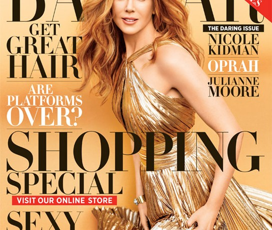Nicole Kidman is a golden Emilio Pucci goddess for Harper's Bazaar November