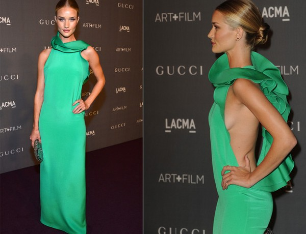 Rosie Huntington Whiteley is gorgeous in green Gucci gown