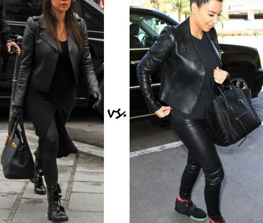 Klash of the Kardashians! Who styled the Valentino leather biker jacket better?