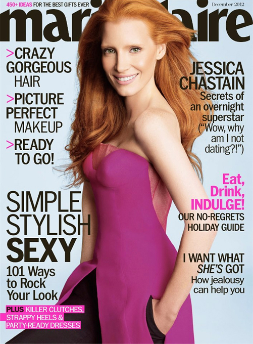 Jessica Chastain is dreamy in Dior for Marie Claire US December
