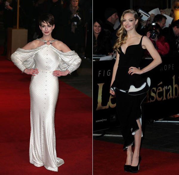 What Anne Hathaway and Amanda Seyfried wore to the Les Miserables London premiere