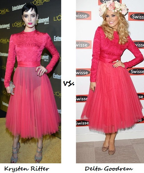 Krysten Ritter vs. Delta Goodrem: Who wore Christian Dior better?