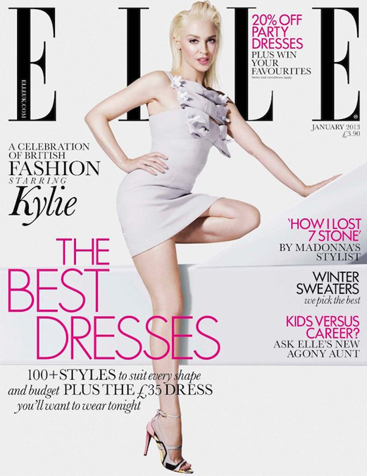 A very blonde Kylie Minogue for Elle UK January 2013