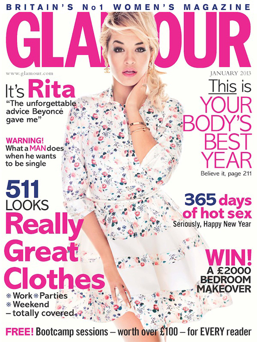 Rita Ora covers Glamour UK's January 2013 issue in Christian Dior