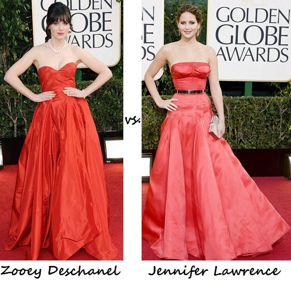 Zooey Deschanel vs. Jennifer Lawrence: Who rocked red better at the Golden Globes 2013? (We can't decide!)
