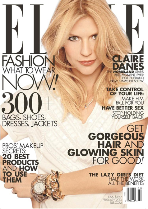 Claire Danes dons Just Cavalli for Elle US February