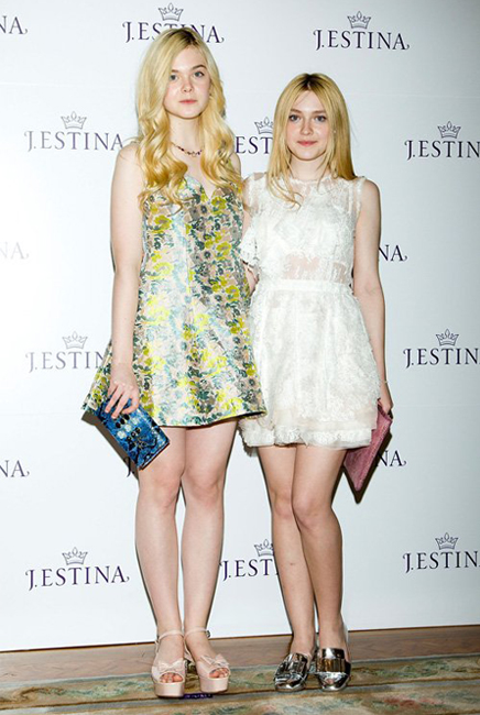 Elle and Dakota Fanning dress their age at J.Estina SS13 presentation