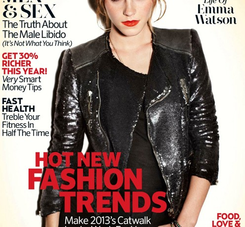 Emma Watson and some seriously bold red lips cover Marie Claire UK February
