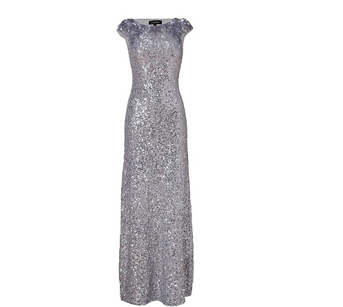 Shine bright like a diamond in Jenny Packham's silver allover sequined gown!