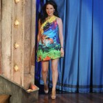 Lucy Liu wears Mary Katrantzou on Jimmy Fallon