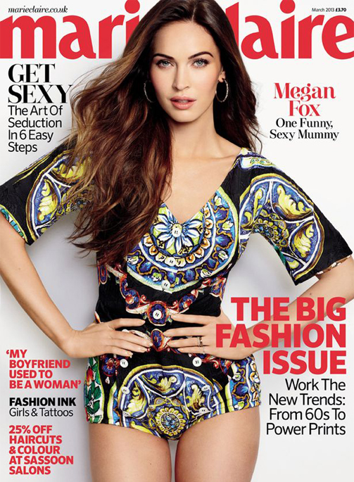"""The ultimate satisfaction for me is being with my son"" – Megan Fox, Marie Claire UK, March"