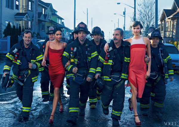 Karlie Koss, Arizona Muse and Chanel Iman honour Hurricane Sandy heroes in Vogue's Storm Troupers shoot