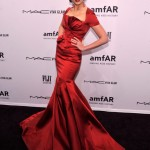 Crystal Renn shows off her teeny-tiny waist in Zac Posen
