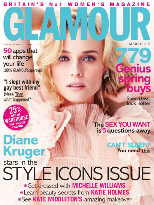 Diane Kruger covers Glamour's March issue in Chloe