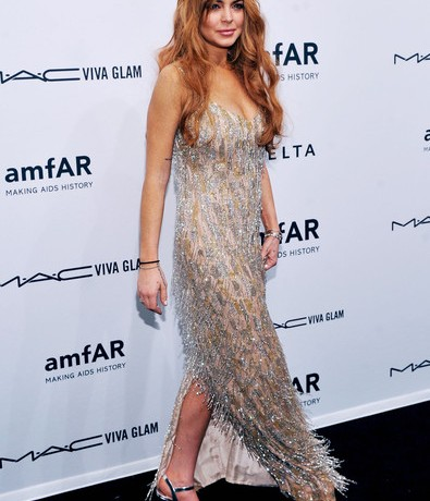 Lindsay Lohan sparkles in Theia for the amfAR gala