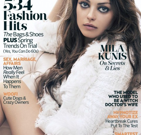 Mila Kunis stuns on the cover of Marie Claire UK's April issue