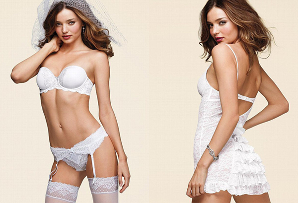 Miranda Kerr models the brand new Victoria's Secret Bridal lingerie