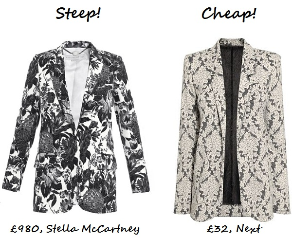 steep v cheap monochrome printed blazer