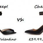 Steep vs. Cheap: Studded ankle strap heels