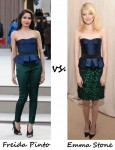 Freida Pinto vs Emma Stone in Burberry Prorsum