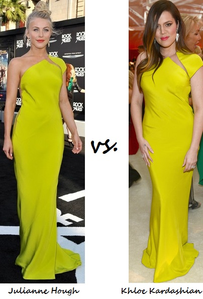 Julianne Hough vs. Khloe Kardashian: Who wore Kaufmanfranco better?
