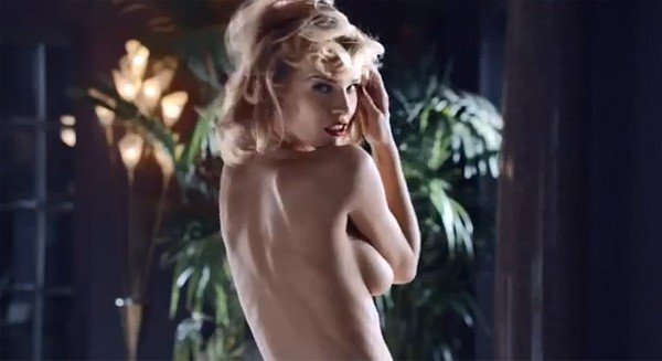Eva Herzigova channels naked Marilyn Monroe for Brian Atwood commercial