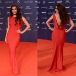 Eva Longoria is red hot in floor-length John Galliano