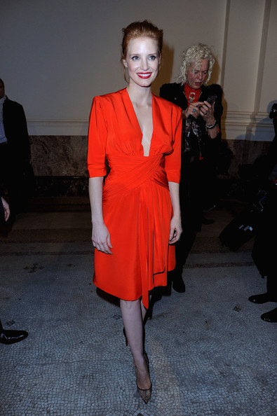 Jessica Chastain stuns in vintage red YSL in Paris