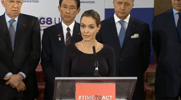 Watch Angelina Jolie give G8 speech in London against warzone rape