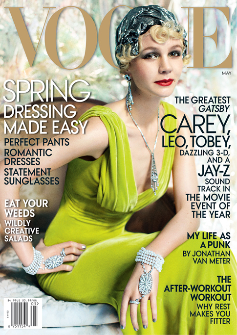 Carey Mulligan in Great Gatsby getup for American Vogue May