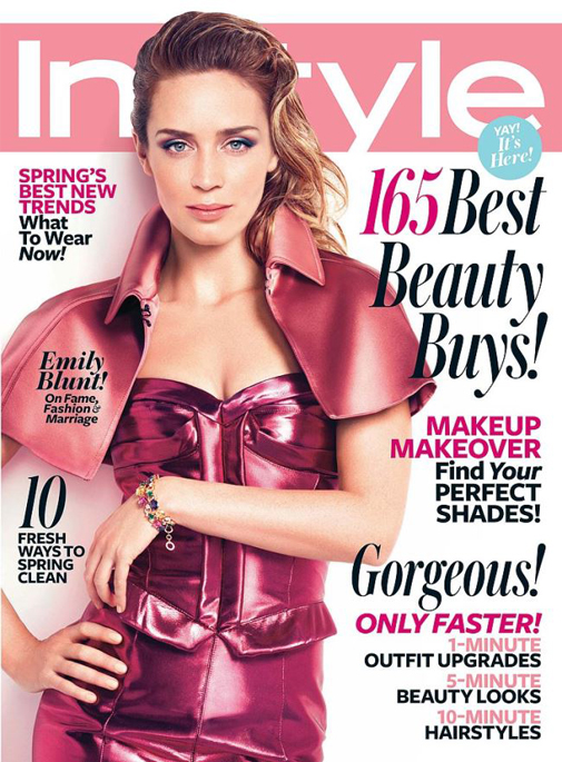 Emily Blunt bright in Burberry for InStyle US May