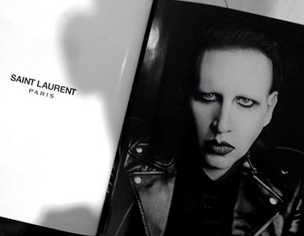 Marilyn Manson in Saint Laurent Paris menswear ad
