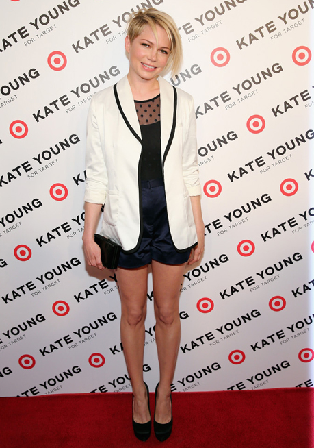 Michelle Williams debuts new hairdo on Kate Young/Target red carpet