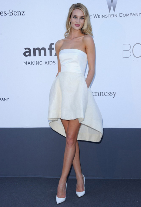 Rosie Huntington Whiteley in asymmetrical Dior for amfAR Gala