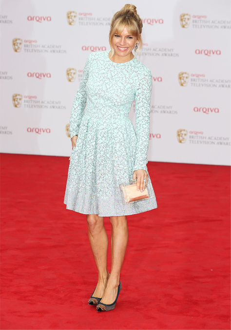Sienna Miller rocks the TV BAFTAs red carpet in Matthew Williamson
