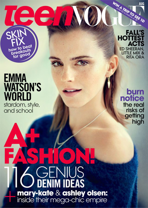 Emma Watson is fresh-faced and fab for her fourth Teen Vogue cover