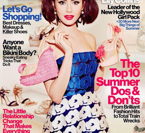 Lily Collins rocks Dior for Glamour US July, is over-Photoshopped