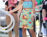 Myleene Klass is petal pretty in Hyde Park