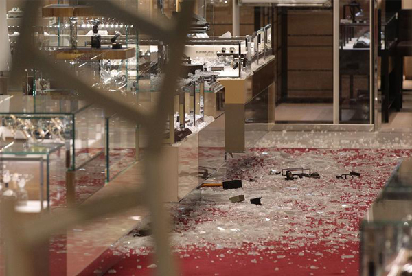 Smash and grab raid at Selfridges Oxford Street last night
