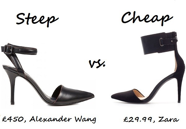 Steep vs. Cheap: Ankle strap pumps