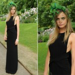 Cara Delevingne in Burberry and lizard hat for Animal Ball