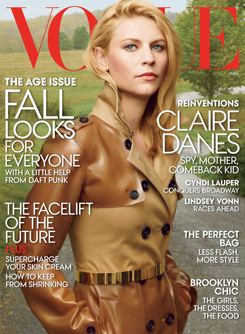 Claire Danes covers American Vogue's August issue