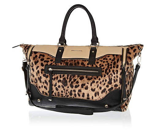 Lunchtime Buy: River Island black leopard print panel holdall