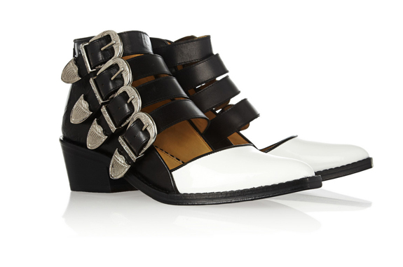 Lunchtime Buy: Toga Pulla buckled leather and patent leather cutout boots